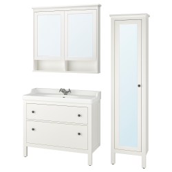 HEMNES/RÄTTVIKEN Bathroom furniture, set of 5