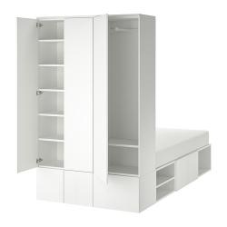 PLATSA Cama 140, estructura con almacenaje y dos secciones armario