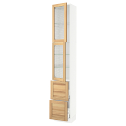 SEKTION/MAXIMERA High cb w 2 glass drs/2 drawers