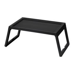 KLIPSK Bandeja para cama, plástico negro