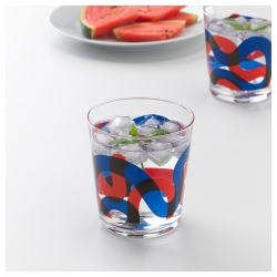 FRAMKALLA Juego de 6 vasos de vidrio liso colores, 30cl