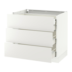 SEKTION Base cabinet w 3 fronts/4 drawers