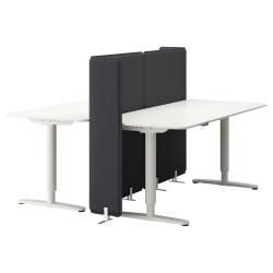 BEKANT Combinación escritorio oficina 2 puestos altura regulable con separador blanco/blanco