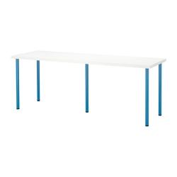 LINNMON/ADILS Mesa de escritorio 200x60 cm blanco/azul