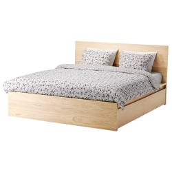 MALM King bed with Luröy slatted & 2 boxes