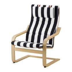 POÄNG Armchair birch veneer, STENLI white/black