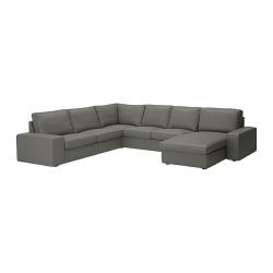 KIVIK Sofá 5 plazas con diván BORRED verde grisáceo