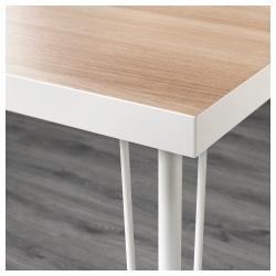 LINNMON/KRILLE Mesa de escritorio 150x75 cm con ruedas blanco efecto roble