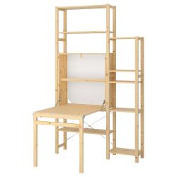 IVAR Estructura almacenaje 134x30x226 cm dos secciones con estantes y mesa plegable