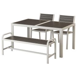 SJÄLLAND Mesa+2 sillas reposabrazos+banco, exterior