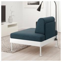 DELAKTIG Sillón con mesa auxiliar y lámpara en azul oscuro desenfundable