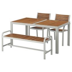 SJÄLLAND Mesa+2 sillas+banco, exterior