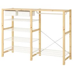 IVAR Armario abierto 174x50x124 cm dos secciones con riel, cajones, estantes y zapatero