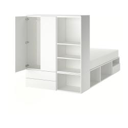 PLATSA Cama 140, estructura con almacenaje, tres cajones y armario