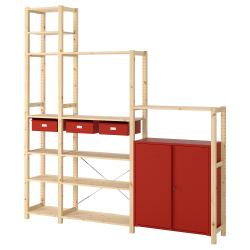 IVAR Estructura almacenaje 219x30x226 cm dos secciones con estantes, cajones y armario