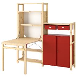 IVAR Estructura almacenaje 175x30x179 cm dos secciones con estantes, cajones, armario y mesa plegable